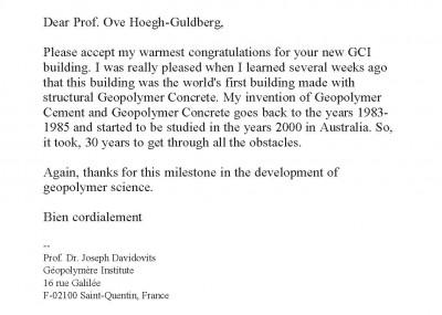 Email from Professor Davidovits